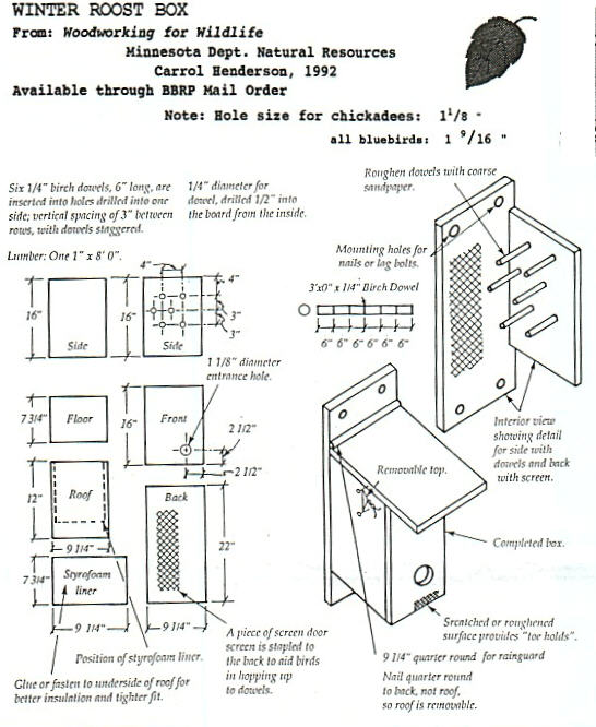 Winter Bird Shelter Plans : Best roosting box plans winter bird shelter and